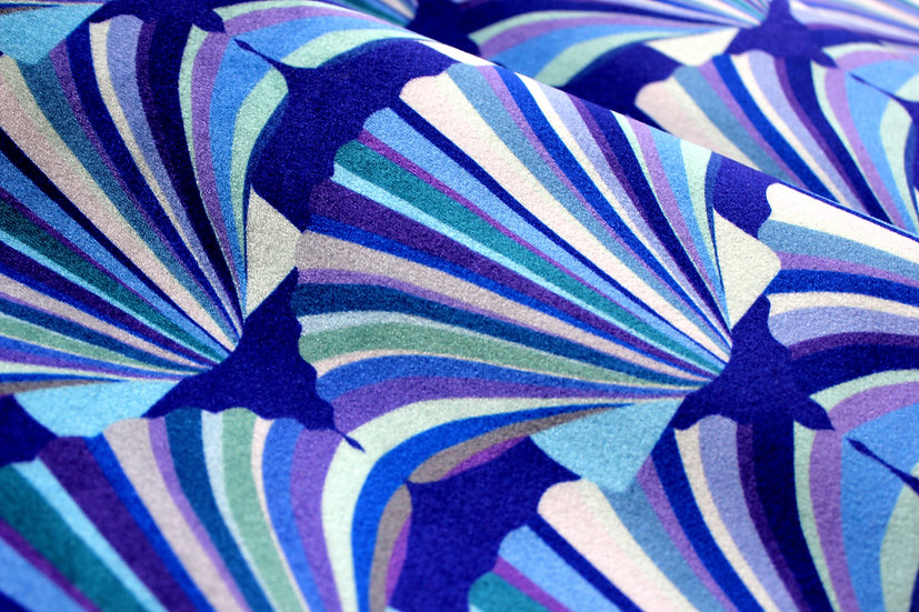 blue art deco fabric