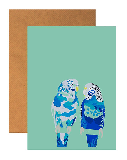 BLUE BLUE BUDGIES GREETING CARD