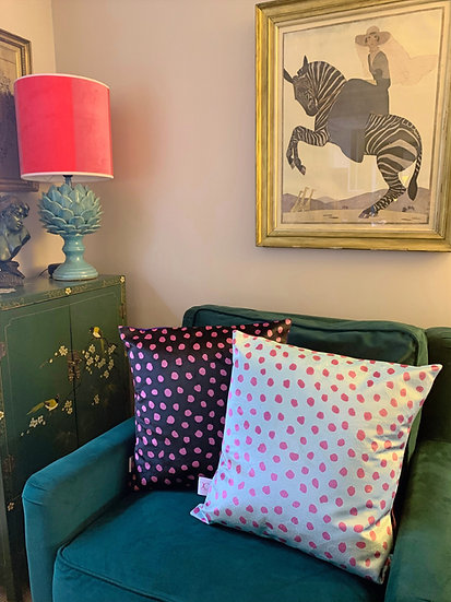 TURQUOISE AND PINK SPOT VELVET CUSHION