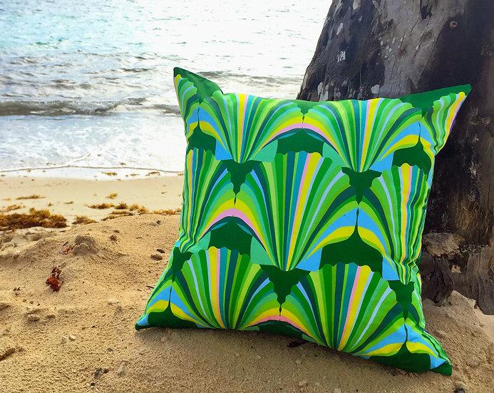 Green shell weatherproof cushion