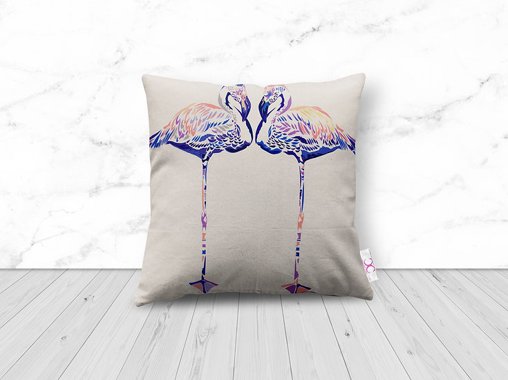 LILAC FLAMINGOS LUXURY CUSHION 1 LEFT