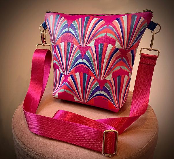 Magenta Shell Vegan Leather Handbag