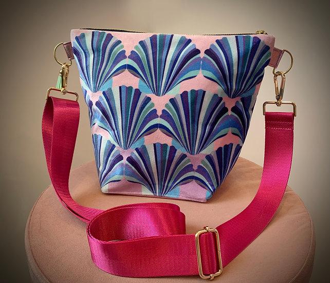 Lilac Pink Blue Shell Velvet Handbag 2 LEFT