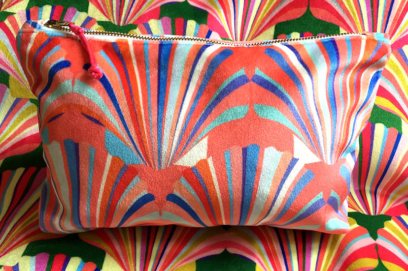Luxury Velvet Coral Shell cosmetic bag