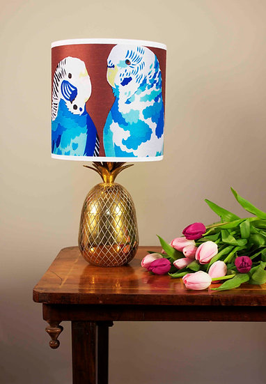 BLUE BUDGIES LAMPSHADE