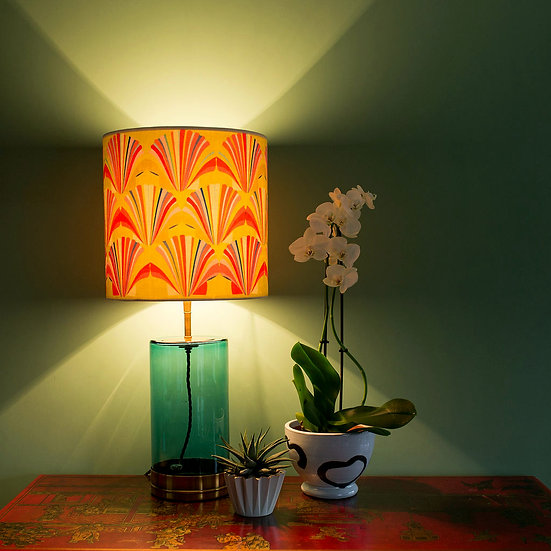 LIME YELLOW SHELL VELVET LAMPSHADE & SEPARATELY POOKY GREEN WISTERIA LAMP BASE