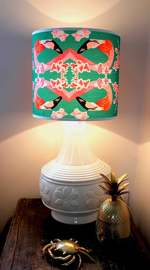 FLAMINGOS AND FLOWERS ABSTRACT LAMPSHADE