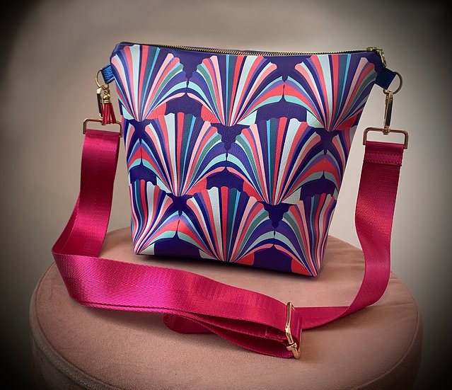 Blue and Magenta Shell Vegan Leather Handbag
