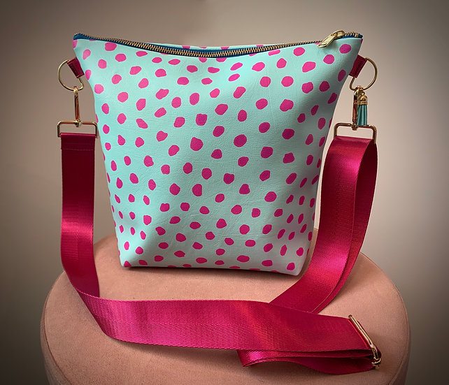 Turquoise and Pink Spots Shell Vegan Leather Handbag