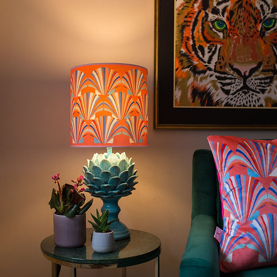CORAL SHELL VELVET LAMPSHADE & SEPARATELY  POOKY ARTUR LAMP BASE