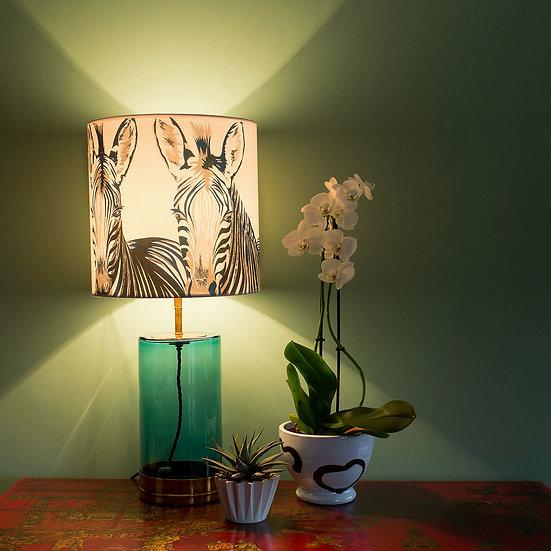NEW ZEBRA SILK LAMPSHADE & SEPARATELY POOKY BLUEY/GREEN WISTERIA GLASS LAMPBASE