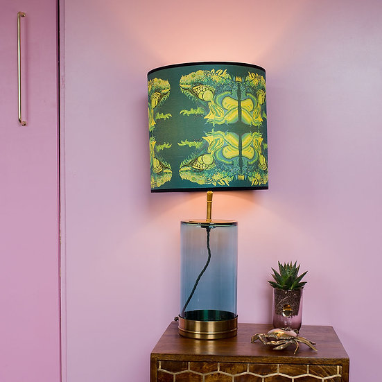 ILLUSIVE IGUANA LAMPSHADE & SEPARATELY POOKY BLUEY/GREEN WISTERIA GLASS BASE
