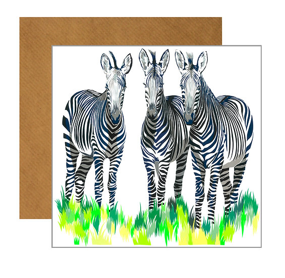 ZEAL OF ZEBRAS GREETING CARD