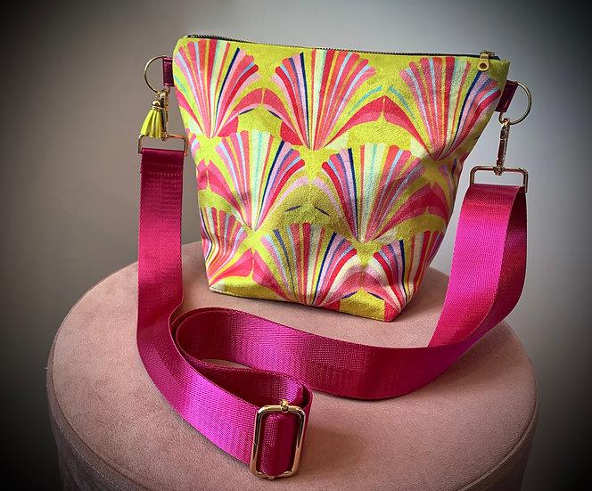 Yellow Shell Velvet Handbag