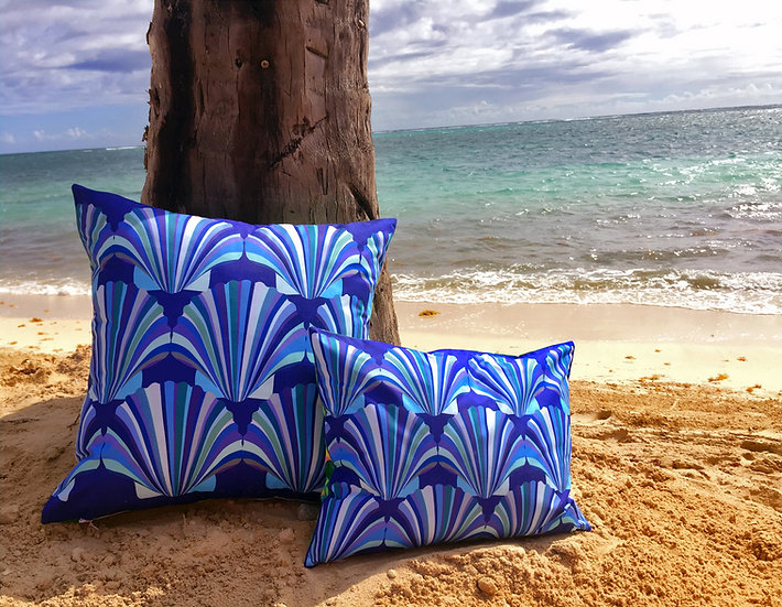 Blue shell weatherproof cushion