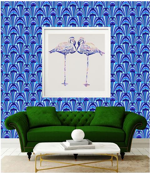 Blue Shell Deco Wallpaper