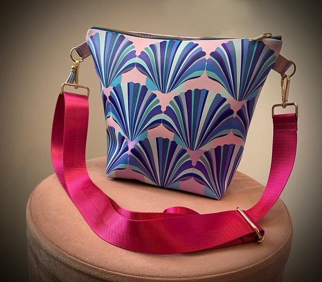 Lilac Pink and Blue Shell Vegan Leather Handbag