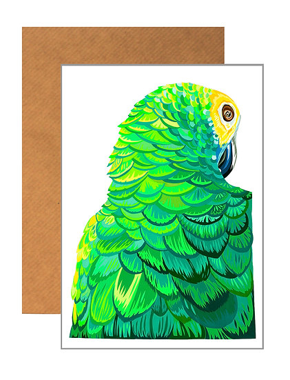 SULTRY PARROT GREETING CARD