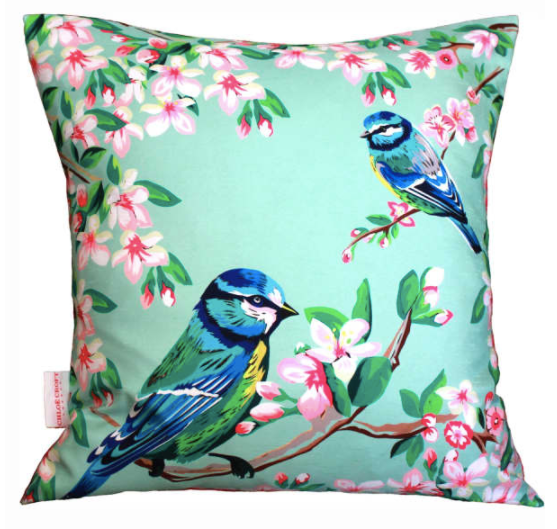 BLUE TITS AND FLOWERS CUSHION