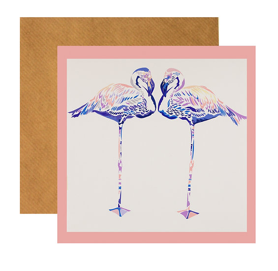 LILAC FLAMINGO GREETING CARD