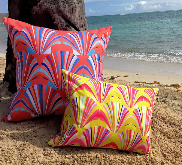 Yellow shell weatherproof cushion