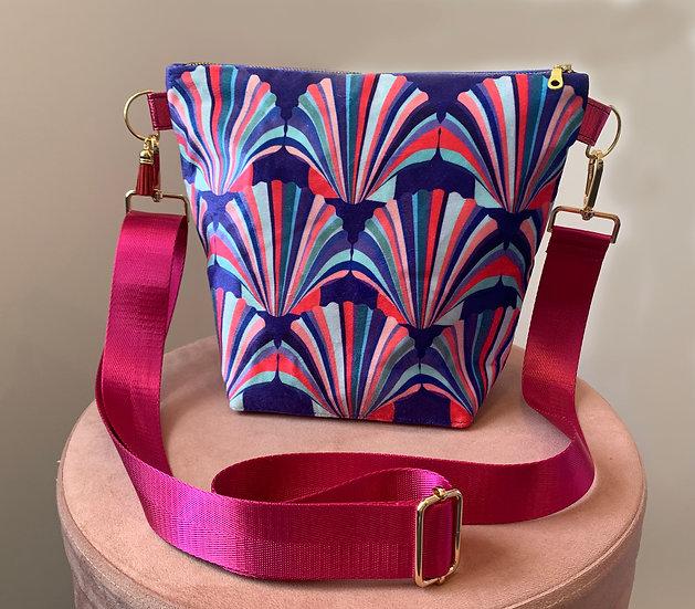 Blue Magenta Shell Velvet Handbag