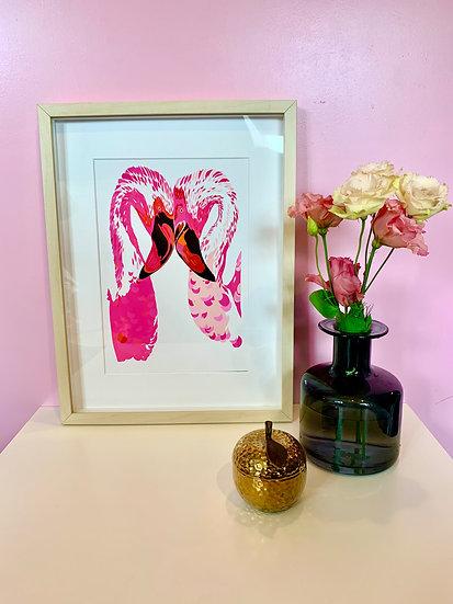 Magenta Flamingos Framed A4 Print