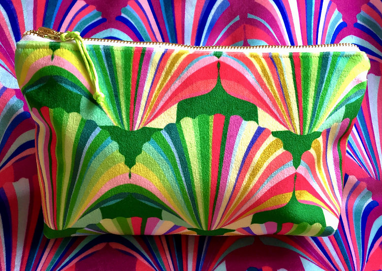 Luxury Velvet Rainbow Shell cosmetic bag