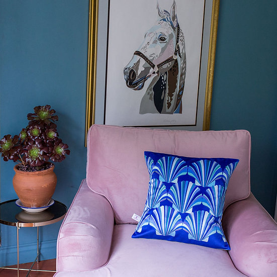 SUBLIME SHELL VELVET BLUES CUSHION