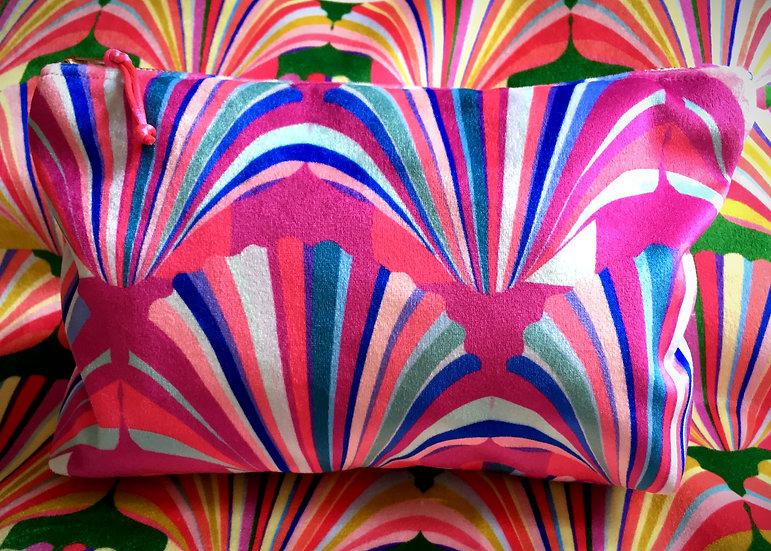 Luxury Velvet Fuchsia Shell cosmetic bag
