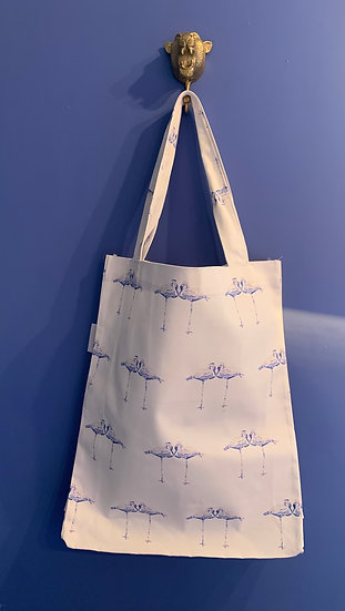 LARGE LILAC FLAMINGOS TOTE BAG