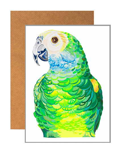 PARROT PORTRAIT GREETING CARD