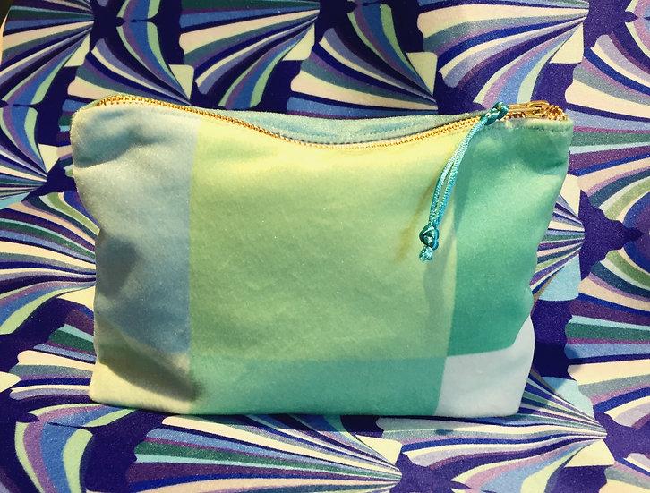 Luxury Velvet Mint Squares cosmetic bag