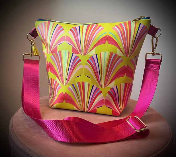 Yellow Shell Vegan Leather Handbag