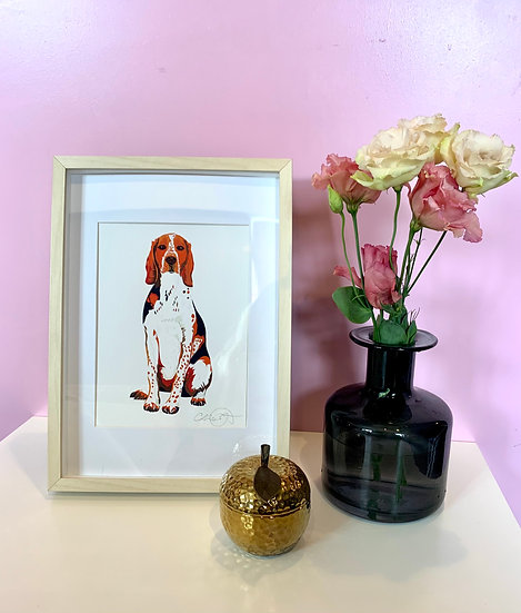 Hound Dog A5 print in A4 frame 1 LEFT