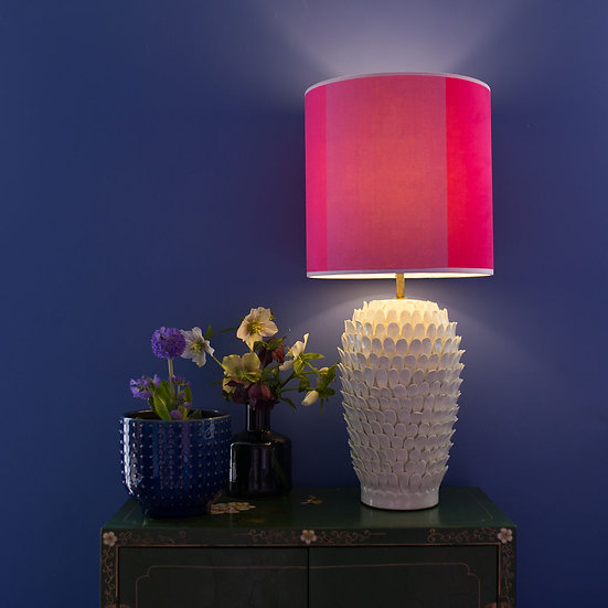FUCHSIA STRIPE VELVET LAMPSHADE & SEPARATELY STUCCO STONE CERAMIC POOKY BASE