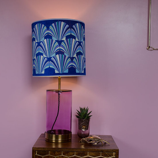 BLUE SHELL VELVET LAMPSHADE & SEPARATELY POOKY WISTERIA GLASS LAMPBASE
