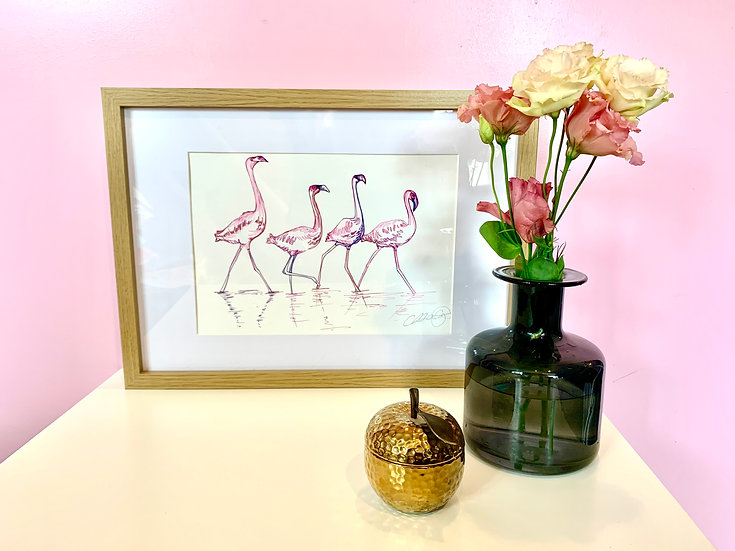 Walking Flamingos A4 print in A3 frame 1 LEFT