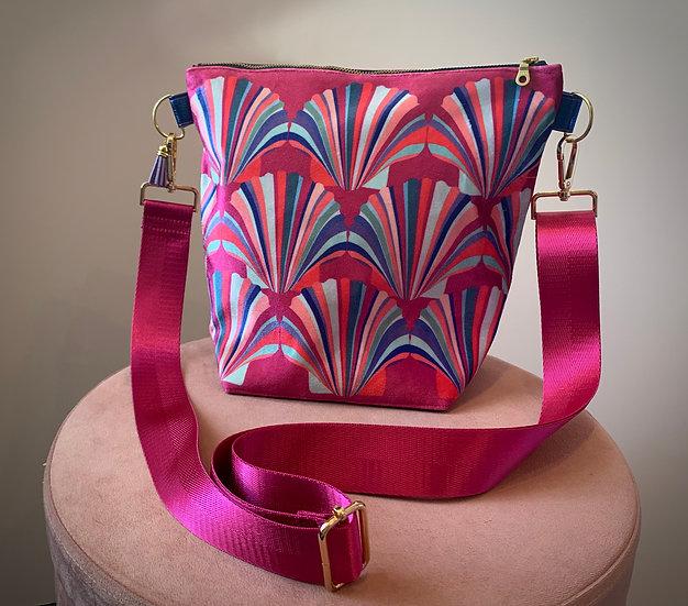 Magenta Shell Velvet Handbag 4 LEFT