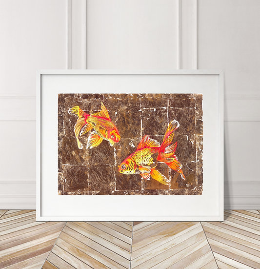 GOLDFISH GAGGLE SALE LIMITED EDITION SIGNED ART PRINT