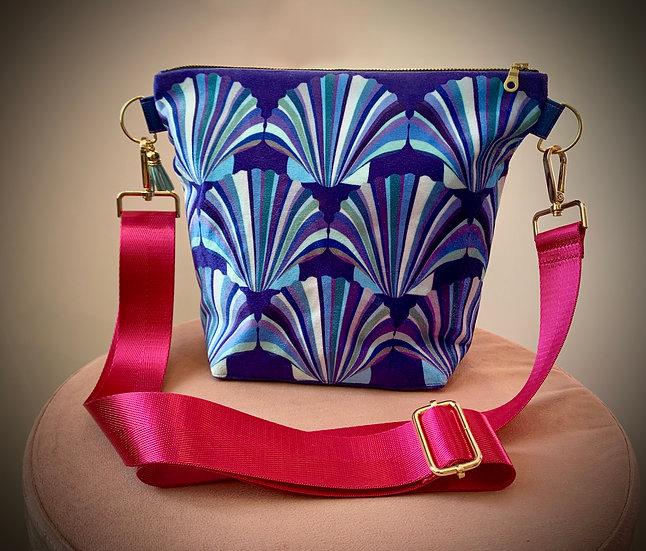 Blue Shell Velvet Handbag