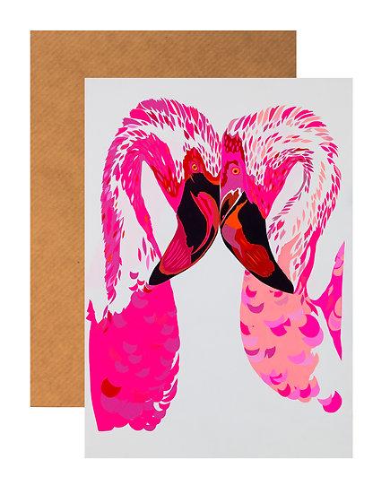 MAGENTA FLAMINGOS GREETING CARD