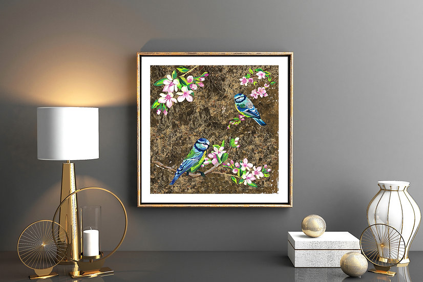 BLUE TITS AND FLOWERS LIMITED EDITION SIGNED ART PRINT