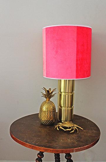 PINK STRIPE VELVET LAMPSHADE