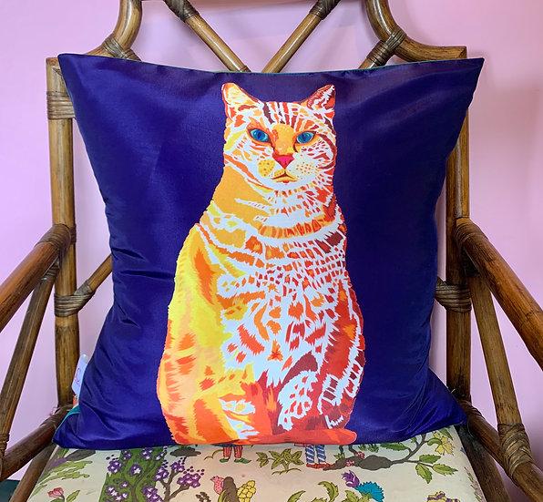 Blue William Cat Silk Cushion SAMPLE 1 LEFT