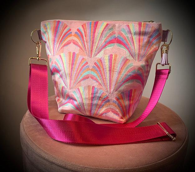 Pastel Shell Velvet Handbag