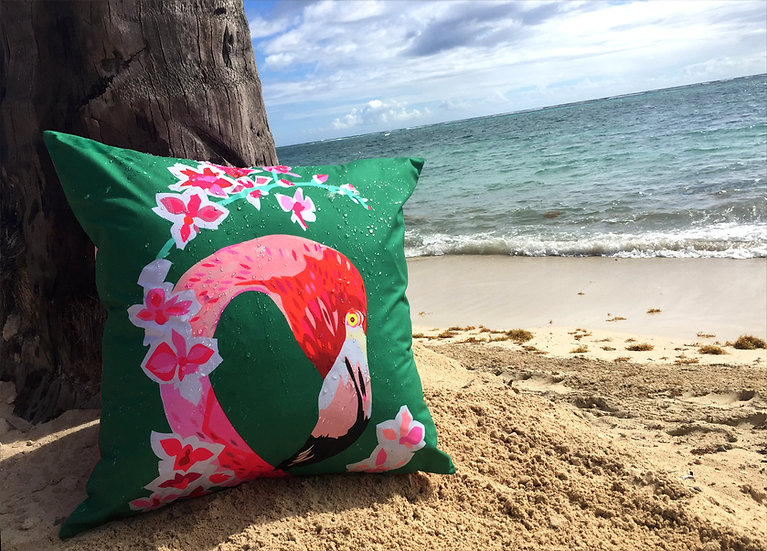 Flamingos and Flowers shell weatherproof cushion