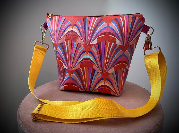 Red Shell Vegan Leather Handbag