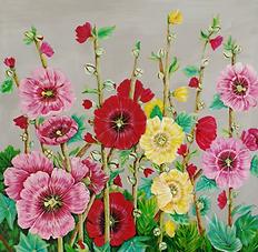ChristineRichardson(1)Hollyhocks,Acrylic on canvas, 50cmx50cm.png