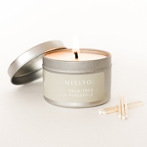Palm Tree + Pineapple 4oz silver candle tin (front view)